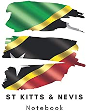 St Kitts and Nevis Notebook, Flag Notebook, 6x9 (15.2 x 22.9 cm) 100 pages: Caribbean, travel, holiday, planner journal Lined logbook