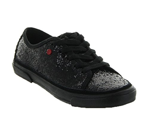 UGG Kids Girl's Lace-Up Glitter (Little Kid/Big Kid) Black Textile Sneaker 2 Little Kid M