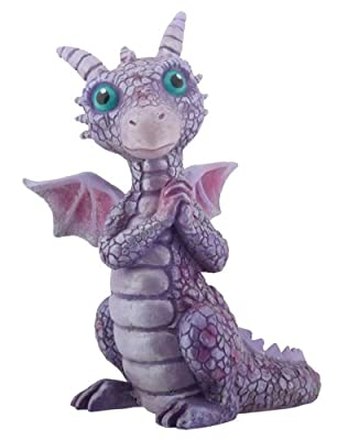 3.75 Inch Cold Cast Resin Purple and Pink Baby Dragon Figurine