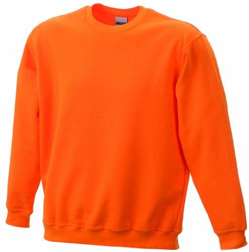 James & Nicholson Jungen Sweatshirt Round - Sweat - Heavy Junior, Gr. Large (Herstellergröße: L (134/140)), Orange