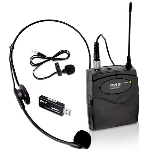 Headset Usb System (Pyle Belt Pack Wireless Microphone System - Mic Set with USB Receiver, Transmitter, Headset and Clip Lavalier Lapel Mic, Audio Cable, Two 'AA' Battery - Great for Karaoke, PA, Dj Party - Pro PUSBMIC43)