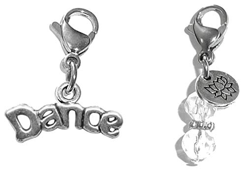 Hidden Hollow Beads Clip On Charm, Bag, Purse, Handbag, Message, Keychain, Zipper Pull, Bracelets, Necklaces, Jewelry (Dance) ()