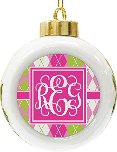 Argyle Green And Pink - YouCustomizeIt Pink & Green Argyle Ceramic Ball Ornament (Personalized)