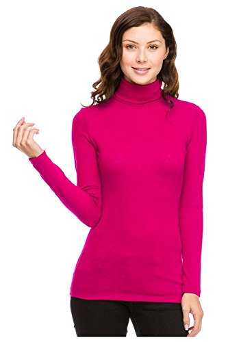 G2 Chic Women's High Turtle Neck Knit Casual Sweater Top(TOP-SWT,MGN-M)