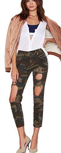 Beautisun Pantalon Pantalon Ronds 2 Trou en Jeans lastique Vert Denim Stretch Taille Femmes Streetwear Denim De Pantalon Camouflage Denim Denim Pieds U4UwpqPr