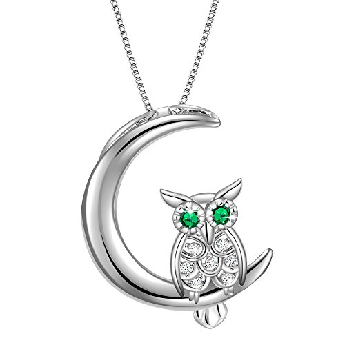 925 Sterling Silver Bird of Wisdom Cubic Zirconia Owl Animal Women Necklace Pendant 18