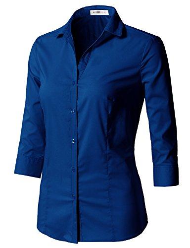 CLOVERY Women's 3/4 Sleeve Cotton Spandex Button Down