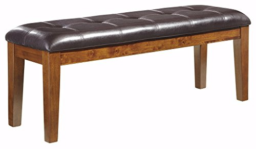 Ashley Furniture Signature Design - Ralene Dining Room Bench - Rectangular - Vintage Casual - Medium Brown (Brown Distressed Contemporary Leather)