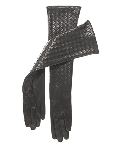 Fratelli Orsini Italian Long Woven Black Leather Gloves - 10-Button Length Size 7 1/2 Color Black by Fratelli Orsini