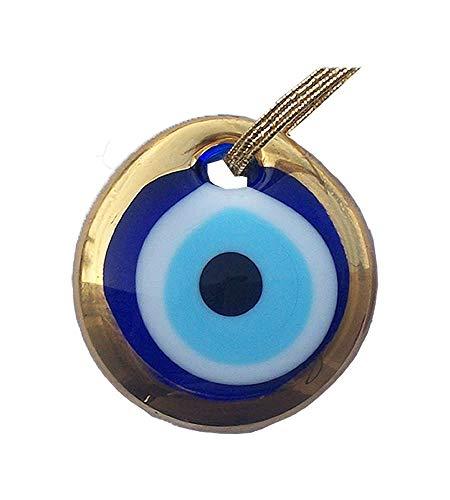 - Gold Gilt Handmade Evil Eye Glass Charm decorative Turkish - Greek - Jewish - Christian ornament (3.5 inch)