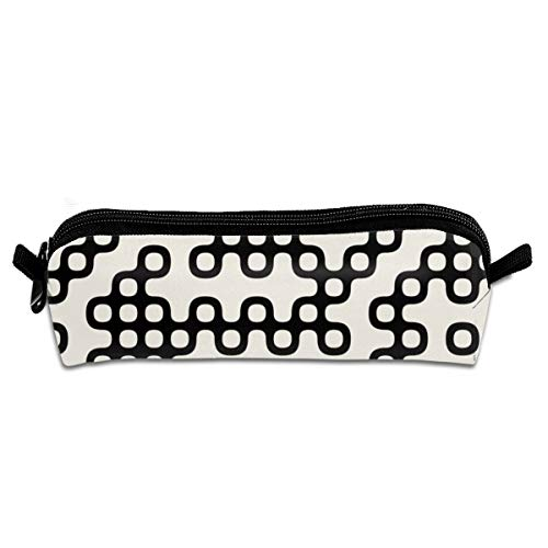 Taslilye Black and White Abstract Irregular Gear Personalized Pencil Case Stationery Storage Organizer Pen Holder for Boy and Girl Zipper Bag