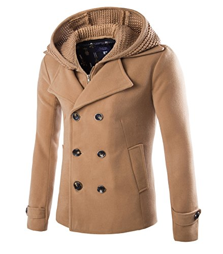 Mens Stylish Fashion Classic Wool Double Breasted Pea Coat with Removable Hood (US:L / Asia XXL, Camel)