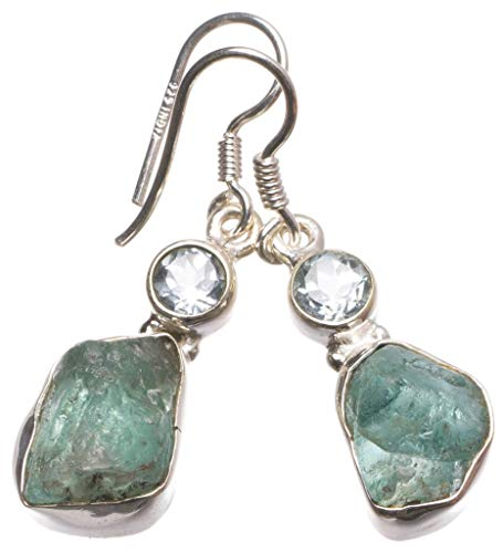 Natural Blue Topaz Rough&Blue Topaz Handmade Vintage 925 Sterling Silver Earrings 1 1/4″ U1110