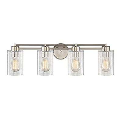 Seeded Glass Bathroom Light Satin Nickel 4 Lt