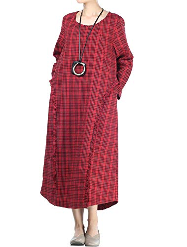 Mordenmiss Women's Cotton Linen Dresses Patchwork Plaid Long Sleeve Dress with Pockets (L Red)