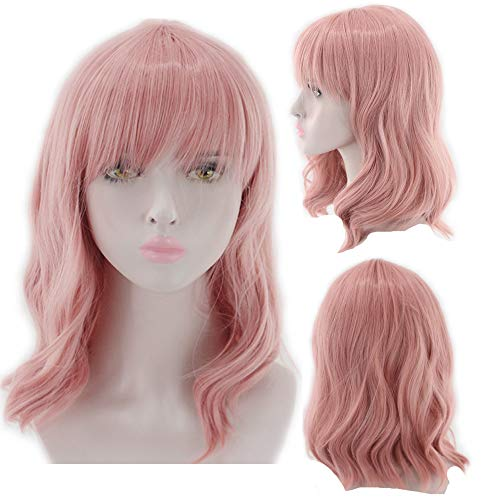 JISTL Wigs for Black Women,Afro Curly Wig Shoulder Length Curly Kinky Wigs Fluffy Wavy Synthetic Hair Wig Halloween Costume Wigs Looks Natura 42CM -