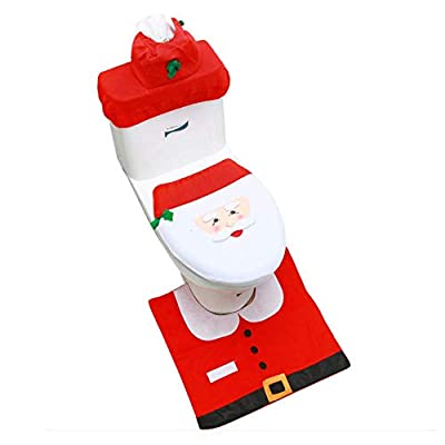 Christmas Toilet Seat Cover Rug Set, Xmas Happy Snowmen Toilet Holiday Tank Covers Bathroom Decor...
