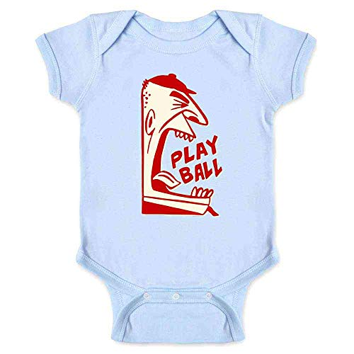 Play Ball Baseball Retro Umpire Sports Light Blue 18M Infant Bodysuit ()