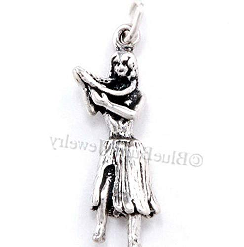 3D Hawaii Hula Dancer Girl Hawaiian LEI Travel Pendant Charm Sterling Silver Vintage Crafting Pendant Jewelry Making Supplies - DIY for Necklace Bracelet Accessories by CharmingSS