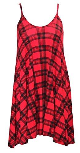 Plus Size Womens Stampato Strappy senza maniche mini vestito da donna, Gilet Top