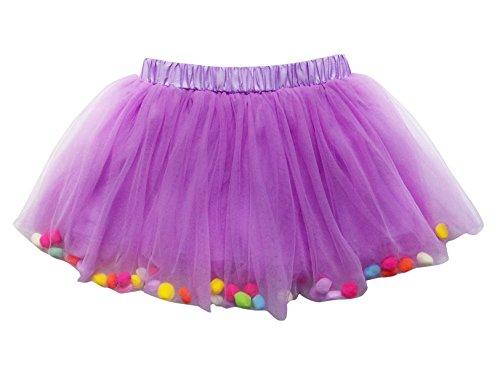 So Sydney Toddler Kids Size POM POM Tutu Skirt Birthday Costume Dress up (M (2-5 Years), Lavender) -