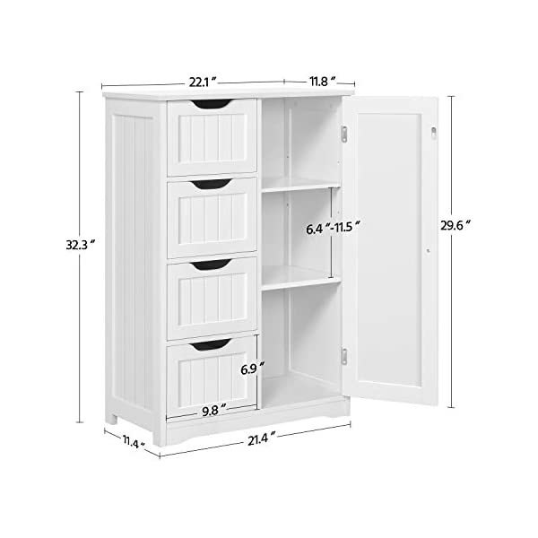 YAHEETECH Wooden Bathroom Floor Cabinet, Side Storage Organizer Cabinet with 4 Drawers and 1 Cupboard, Freestanding…