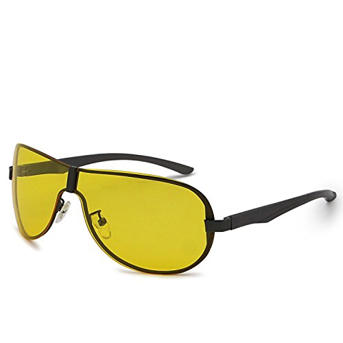 AMZTM Mens Modern Handsome Windproof Aviator Oversized Shades Polarized Sports Cycling Running Sunglasses Metal Frame Reducing Glare Night Driving Glasses (Yellow, - For Running Shades