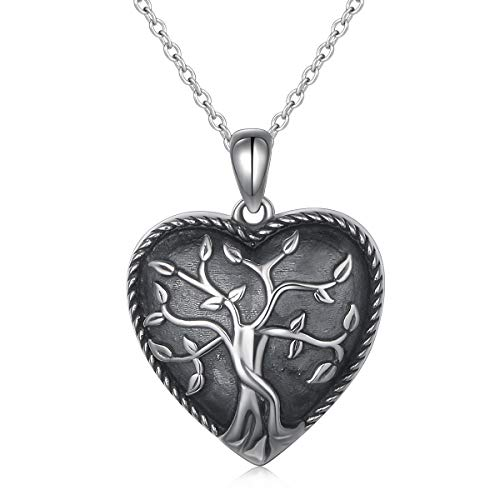 S925 Sterling Silver Heart Tree of Life Urn Pendant Memorial Ashes Keepsake Exquisite Cremation Pendant Necklace