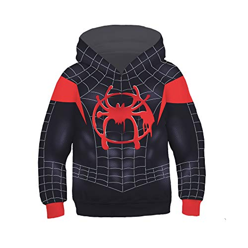 Anime Kids Superhero Spiderman Far from Home Hoodie Halloween Cosplay Costume 3D Pullover Pocket Sweatshirt (Little Black Spider, Large)