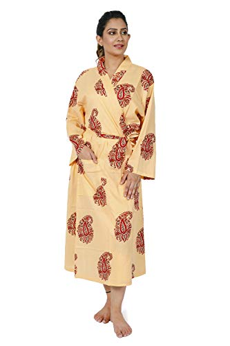 (HANDICRAFT-PALACE Cotton Kimono Robe Women's Bathrobe Bridal Robe Nightgown Floral Summer House Coat (Beige & Red Paisley))