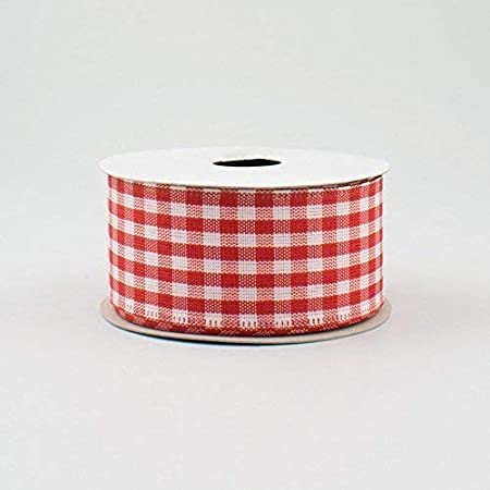 1.5 Wide Gingham Check Wired Ribbon Black /& White 10 Yards