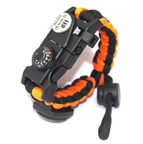 WYYHAA Paracord Survival Bracelet, Adjustable Survival Bracelet with Flint Fire Starter Compass Thermometer Whistle Umbrella Rope LED Light Multi-Tool Card Reader(3 Pack),Orange