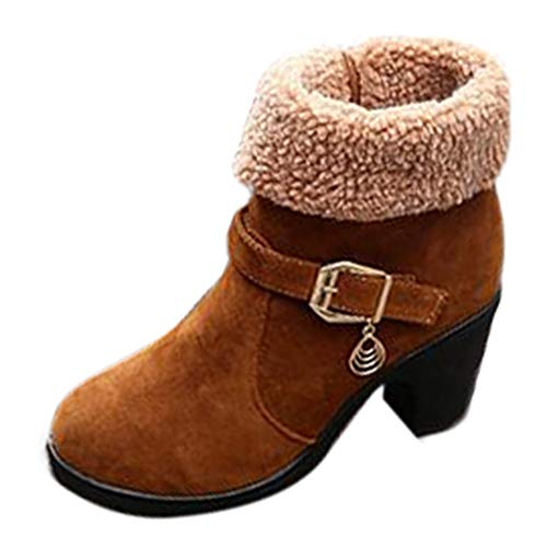 Hunzed Women Shoes Short Tube Clearance Girl's Boots Matte Suede Chunky Heel Boots (Brown, 7.5) -