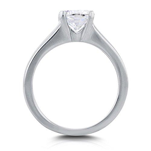 Bague solitaire rond classique Diamant 1carat en or blanc 14K _ 7.0
