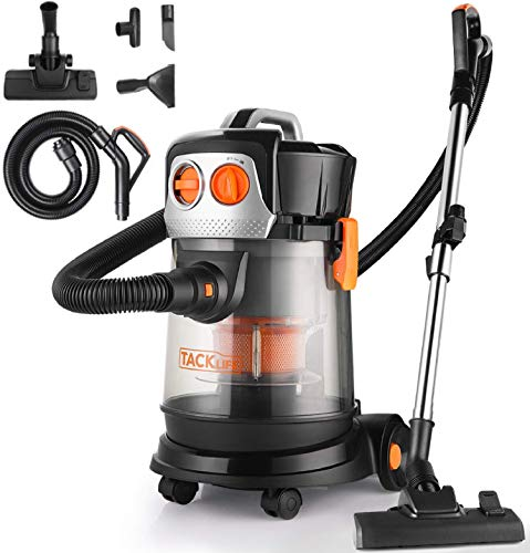Wet Dry Vacuum, 4 Gallon 4 HP Peak Shop Vacuum with Extension Wand 4 Wheels No HEPA Low Power Loss for Home Garage Cars