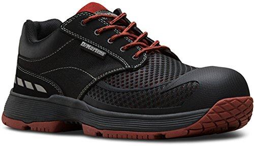 Dr. Martens Men's calamus Lo Safety Toe 5 Eye Shoes, Black Mesh, Rubber, 10 M UK, 11 M US