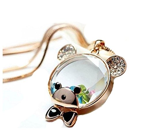 Gold Tone Floating Crystal Watch - Basket Hill Watches And Gifts Women's Clear Teddy Bear Head Necklace W/ Floating Crystals Gold Tone Chain
