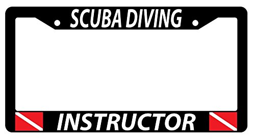 SCUBA INSTRUCTOR w/FLAGS Black Plastic License Plate Frame