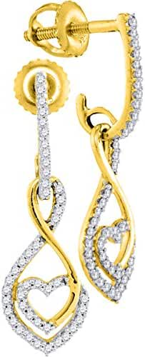 10kt Yellow Gold Womens Round Diamond Heart Dangle Screwback Earrings 1/4 Cttw
