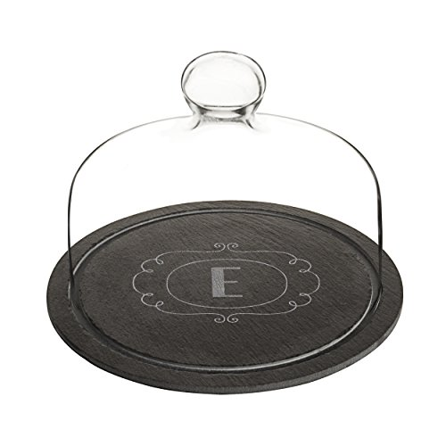 Cathys Concepts Wedding Accessories - Cathy's Concepts 2197-E Personalized Slate Tray with Glass Dome, Black