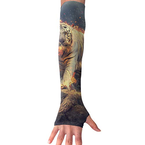(XIKEWL Unisex Flaming White Tiger Anti-Uv Protection Sun Arm Sleeves Gloves Novel Sports Arm Sleeves for Cycling Driving Golf Basketball 1 Pair)