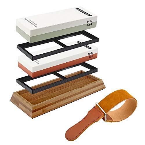 Knife Sharpening Stone Set Premium Whetstone 400/1000 3000/8000 Grit Water Stone Best Kitchen Knife Sharpener Stone Kit Leather Strop Non-Slip Bamboo Base