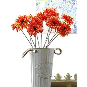 "Charmly 10 Pcs Artificial Gerbera Fake Daisy Flowers Flocking Stem Chrysanthemum Flower Home Wedding Party Decor 20"" High 38"