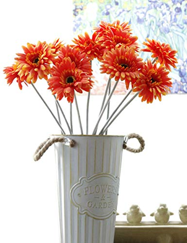 Charmly 10 Pcs Artificial Gerbera Fake Daisy Flowers Flocking Stem Chrysanthemum Flower Home Wedding Party Decor 20