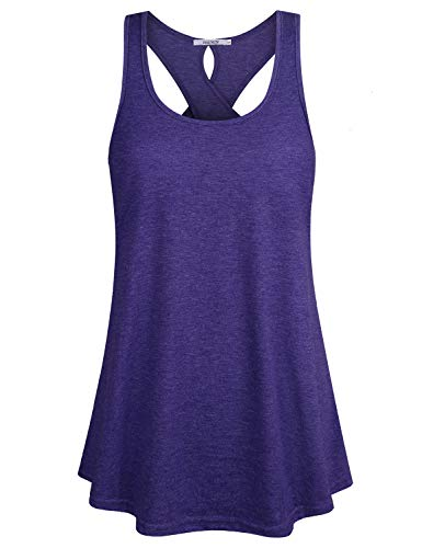 ZKHOECR Gym Clothes for Women Going Out Tops Girls Crew Neck Athletic Rackerback Tank Summer Sports Outfits Sleeveless Cotton Shirts for Work Office Yoga Gym Purple L