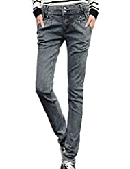Ubasics Women's Trendy Stretchy Slim Fit Fit Denim Mid Rise Jeans Pants Dark Gray 32