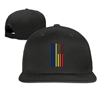 Romania America Flag Plain Adjustable Snapback Hats Men's Women's Baseball Caps