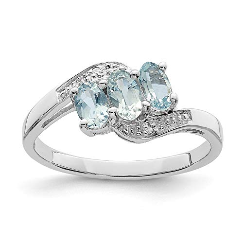 925 Sterling Silver Aqua Diamond Band Ring Size 6.00 Gemstone Fine Jewelry Gifts For Women For Her ()