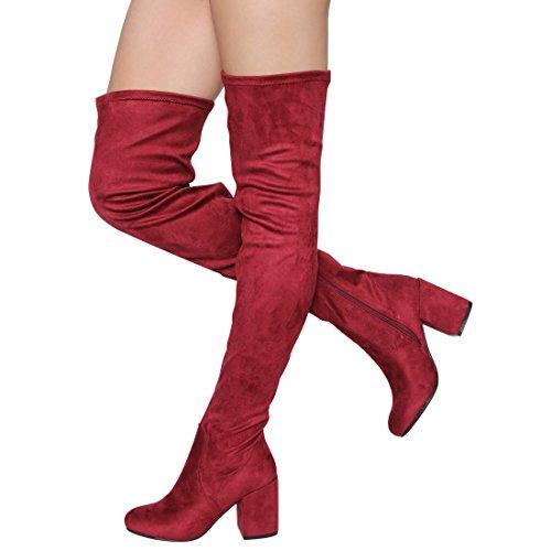 Besonon EJ59 Damen Stretchy Snug Fit Reißverschluss Blockabsatz Overknee High Boots Wein