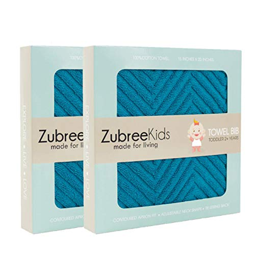 Zubree Toddler Bib - Thick as a Hand Towel, Ultra-Absorbent Cotton, Comfortable, Large Coverage, Tug-Proof Snaps (18mo-5y) (2) (Pullover Cotton Bib)